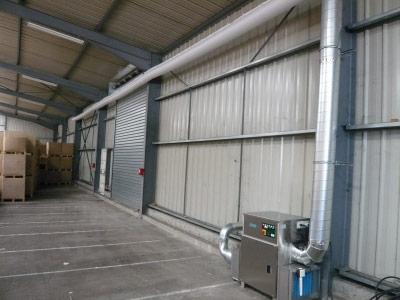Assécheur d'air dans un hangar