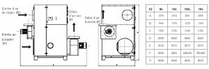 Dimensions d'un déshydrateur CZ-Series