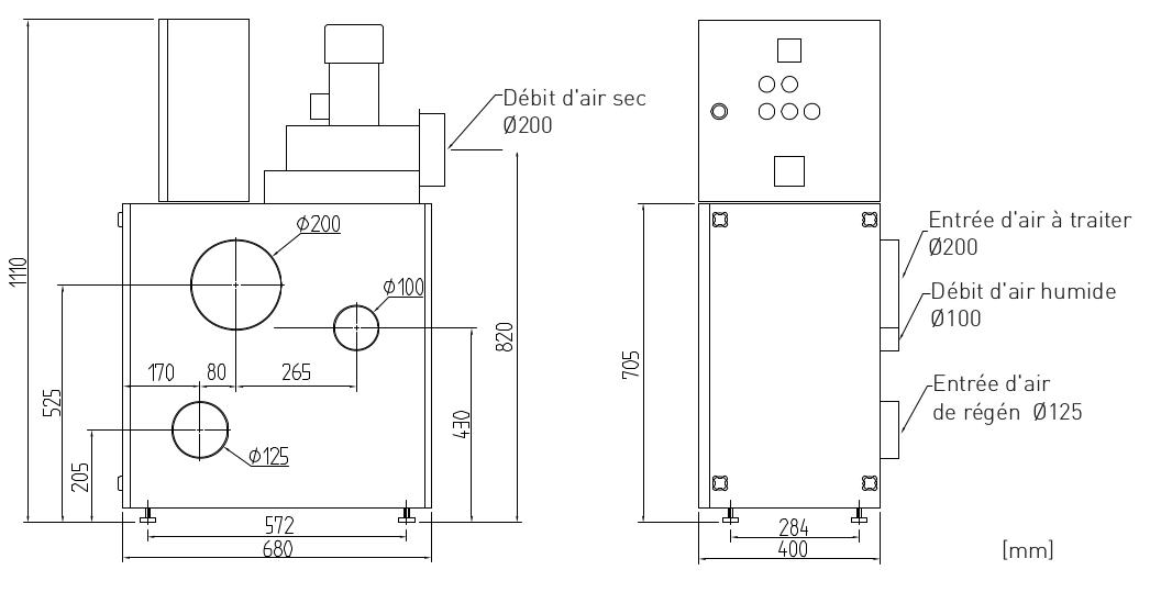 Dimensions déshydrateur industriel R-060BR