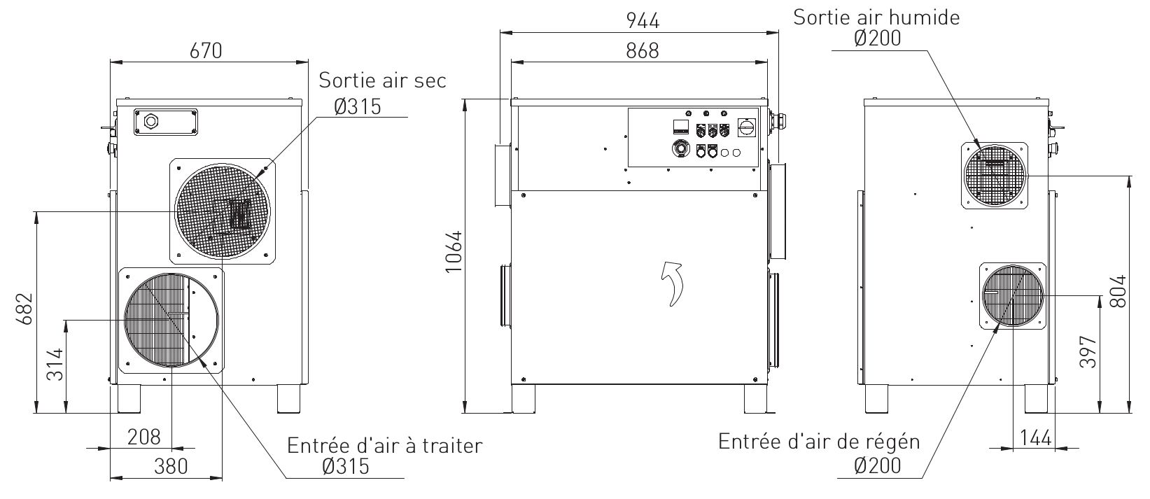 Dimensions déshumidificateur industriel RL-61