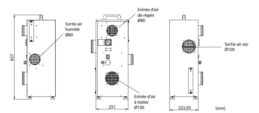 Dimensions déshumidificateur industriel DC-10